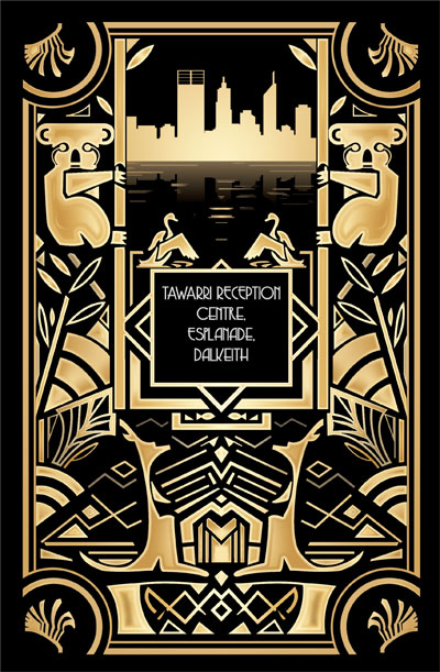 Back of the Australian Art Deco Wedding Menu by Helen Nowell