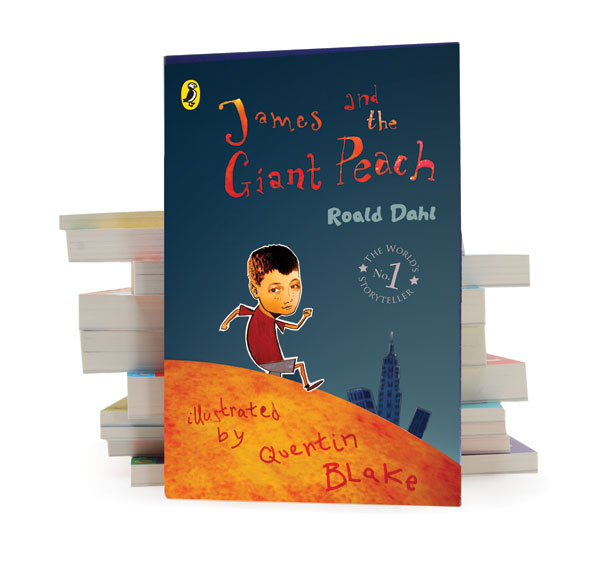 James and the Giant Peach book cover designed by Emma Andrews and illustrated by Helen Nowell