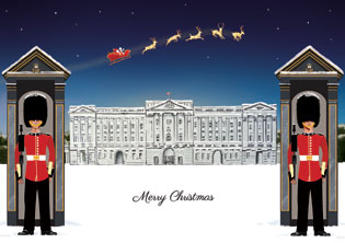 Buckingham Palace Christmas card by Helen Nowell