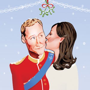 Prince William and Kate.  The Duke and Duchess of Cambridge underneath the Mistletoe