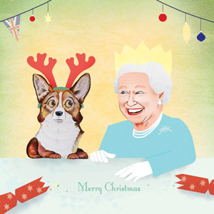 Queen and her Corgi by Helen Nowell