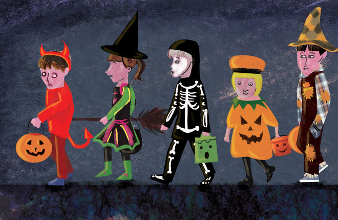 Halloween image. Children trick or treating