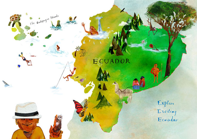 Ecuador Illustrated Map