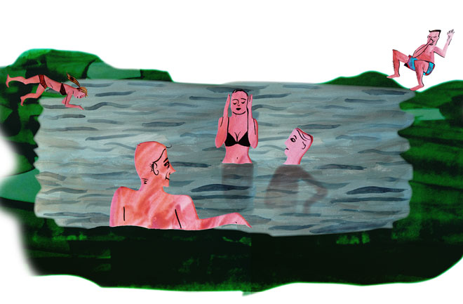 Iceland hot spring illustration